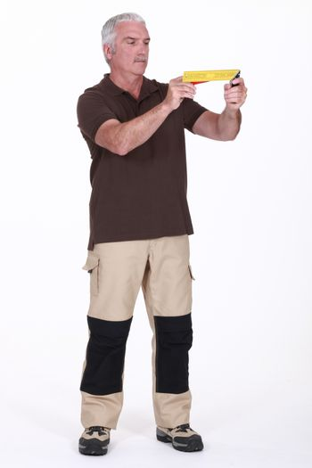 Man holding a try square