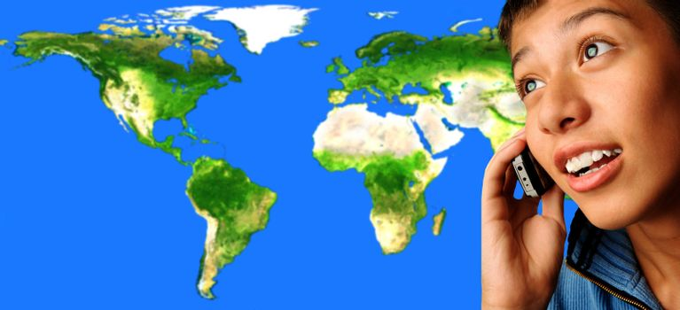 Boy talking via cell phone on the world  map background