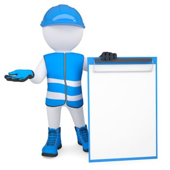 3d man in overalls with a checklist