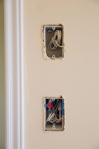 electrical box for switch and plug with wires