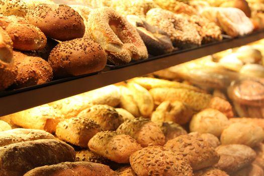 appetizing bread on showcase