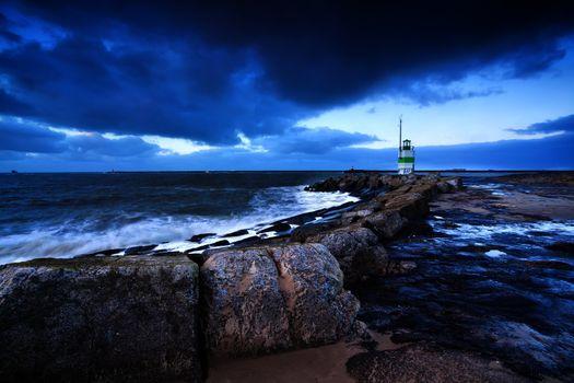 lighthouse on North sea coast, Ijmuiden, Holland