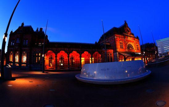 Central Station in Groningen in dusk