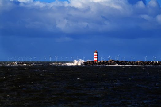 red and white lighthouse in North sea