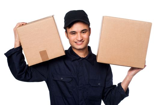 Smart courier boy delivering parcels