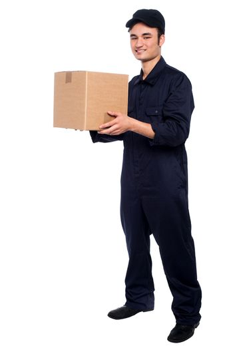 Young boy delivering parcel