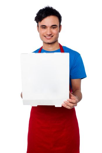 Guy delivering pizza at your door step