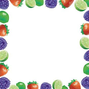 mix fruits with berries strawberry and lemon frame