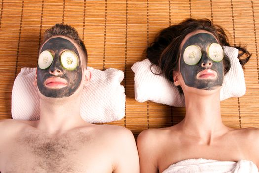 Couples retreat facial mask spa
