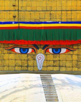Close up of widsom eyes of Boudhanath Stupa with in Kathmandu, N