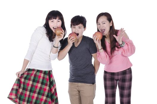 Pertty girls eating apples over white background