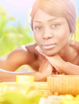 African female in spa