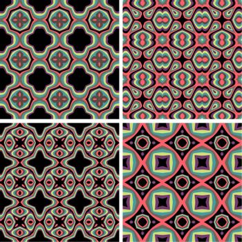 Set of Seamless Colorful Retro Pattern Backgrounds, Vector Illustration