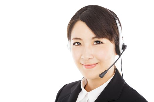 beautiful smiling businesswoman with headphone