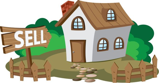 Illustration of house for sell. Concept of city lifestyle.