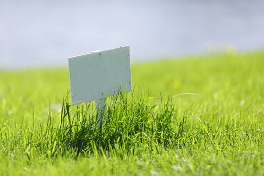 White signboard on grass