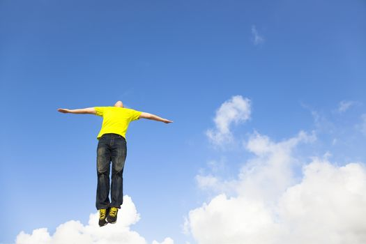 relaxed young man jumping