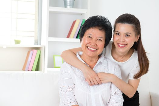 Senior mother and daughter.
