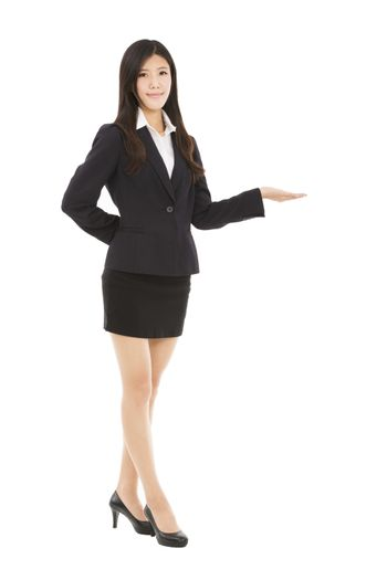 Smiling asian businesswoman presenting