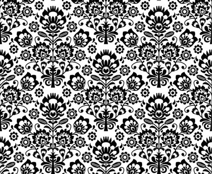 Repetitive monochrome background - polish folk art pattern