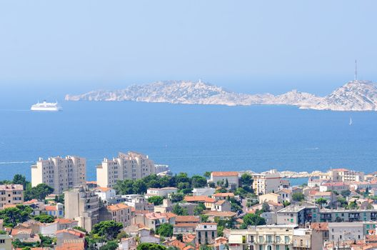 the town of Marseille in the  southeastern of france