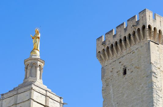 the papal palace in the tow of Avignon