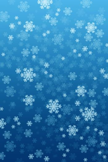 Blue background with snowflakes as a Christmas symbol