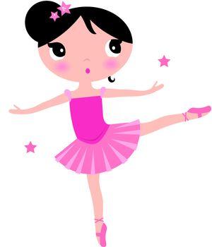 Beautiful little ballerina girl. Vector cartoon Illustration