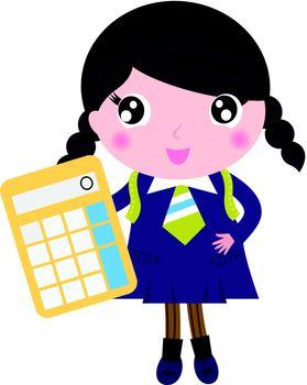 Cute girl in school uniform. Vector cartoon Illustration