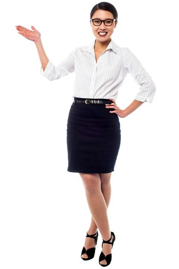 Woman presenting and promoting business product