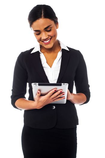 Company manager browsing on tablet pc