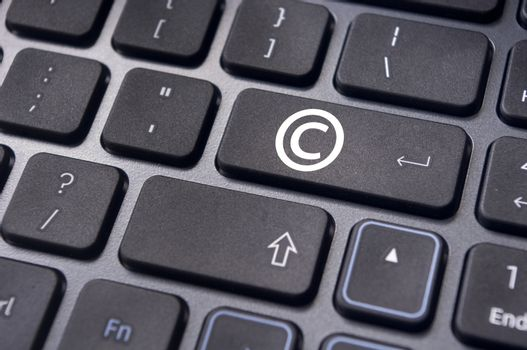 a copyright symbol on keyboard to illustrate the concepts.