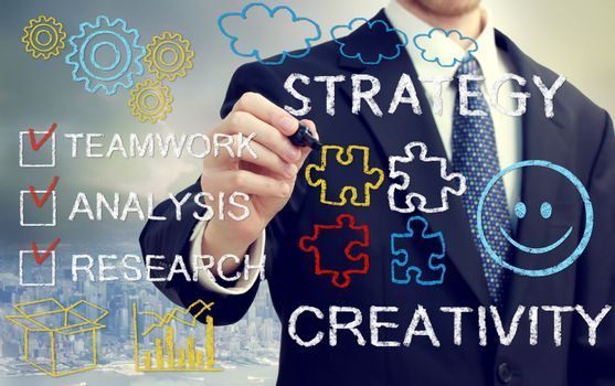 Businessman with concetps of strategy and creativity