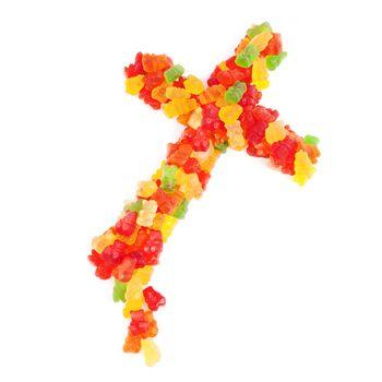 Crucifix made of sugared gummy candies