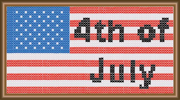 A 4th of July cross stitch flag.