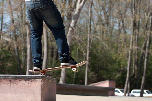 Skateboarder on a Grind Rail