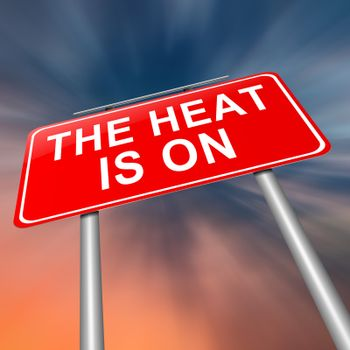 Illustration depicting a sign with a heat is on concept.