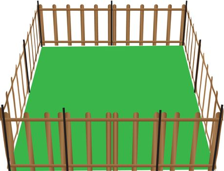 Wooden fence for animals used in farming. Vector illustration.