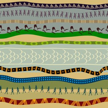 Seamless pattern with primitive patterns and shapes of people. Tribal style