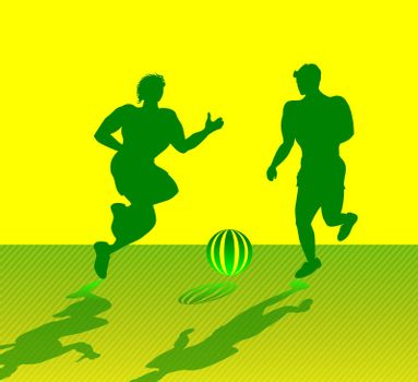 Silhouettes of two muscular men playing soccer, with yellow and green color scheme