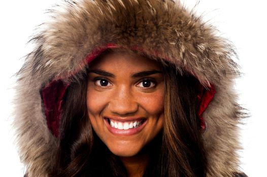 Pretty African girl in fur hood