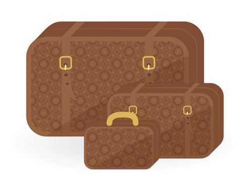 three suitcases for travel isolated on white background