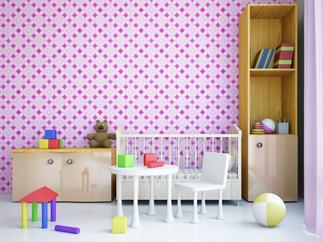 Nursery with toys and the bed near a wall