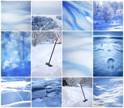 Winter collage of backgrounds
