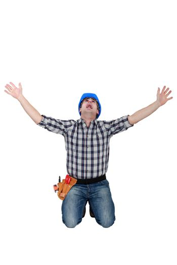 Tradesman crying out in fear