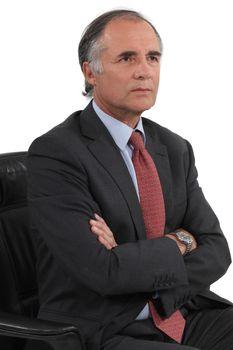 serious businessman posing