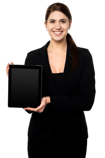Female presenting brand new tablet pc