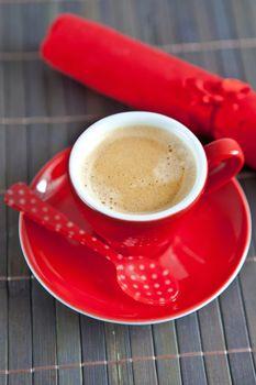 Espresso in a red cup
