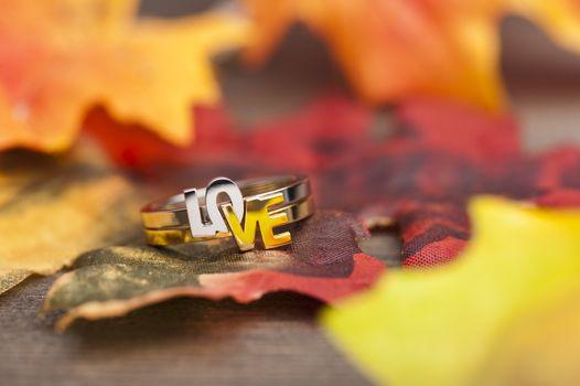 LOVE ring in festive autumn decoration
