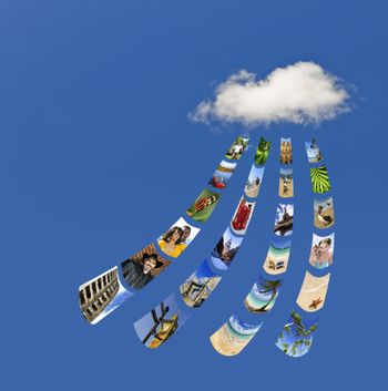 Concept of cloud services for storing and sharing photos